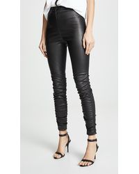 T By Alexander Wang Stretch Leather Trousers With Ruching Detail - Black