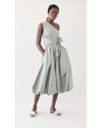 Tibi Eco Poplin One Shoulder Dress - Multicolour