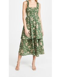 La Vie Rebecca Taylor Sleeveless Talita Smock Dress - Green