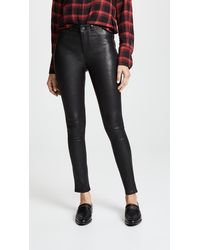 PAIGE Hoxton Stretch Leather Trousers - Black