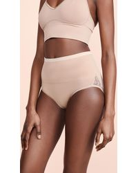 Yummie Ultralight Seamless Brief With Lace Insert - Brown