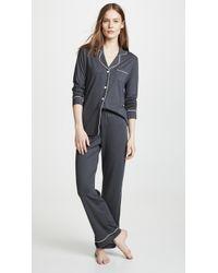 Cosabella Bella Long Sleeve Top & Pant Pj Set - Gray