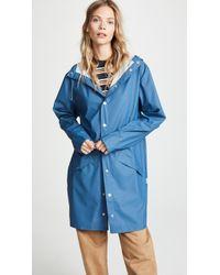 Rains Long Rain Jacket - Blue