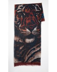 Franco Ferrari Tiger Face Scarf - Blue