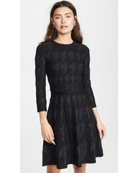 Yigal Azrouël Houndstooth Fit And Flare Dress - Black