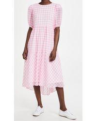 English Factory Gingham Print Midi Dress - Pink