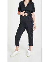 Ingrid & Isabel Short Sleeve Knit Jumpsuit - Black