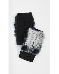 Adrienne Landau Rabbit Fur Fingerless Gloves - Black