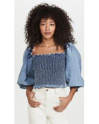 Something Navy Chambray Smocked Long Sleeve Top - Blue
