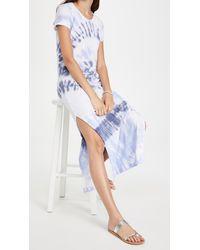 Sundry Short Sleeve Maxi Dress With Slit - Blue