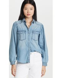Free People With Love Denim Button Down - Blue