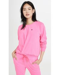 Sundry Little Heart Pleated Sweatshirt - Pink