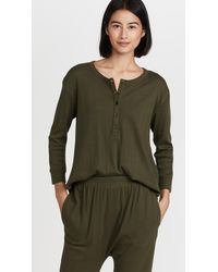 The Great The Pointelle Shirttail Henley - Green