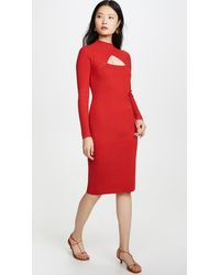 Victor Glemaud Wool Cutout Dress - Red