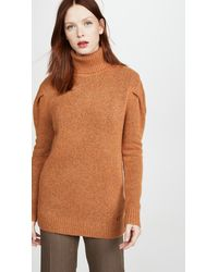 COACH Frill Sleeve Turtleneck - Brown