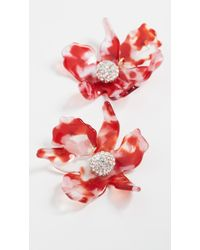Lele Sadoughi Small Crystal Lily Earrings - Red