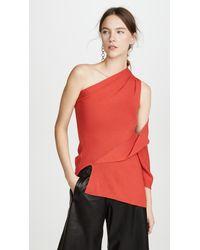 Monse Asymmetric One Shoulder Wool Top - Red