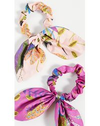 Tanya Taylor Bow Scrunchie Set - Purple