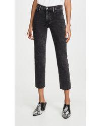 FRAME Le High Straight Raw Edge Jeans - Black