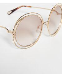 Chloé Carlina Spherical Sunglasses - Brown