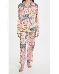 Karen Mabon Snow Leopard Long Pyjama Set - Pink