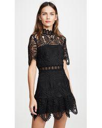 Saylor Midnight Embroidered Mini Dress - Black