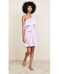 Miguelina Summer One Shoulder Dress - Purple