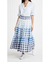 STAUD Laney Gingham Midi Skirt - Blue
