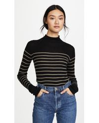 Vince - Striped Roll Edge Mock Pullover - Lyst
