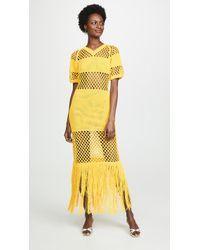 Sonia Rykiel Fishnet V Neck Dress - Yellow