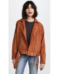 Free People - Drapey Suede Moto Jacket - Lyst
