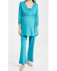 Cosabella Bella Pima Mat 3 Piece Robe Cami & Trousers - Blue