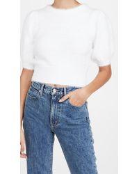 Line & Dot Harper Fuzzy Sweater - White