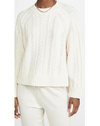 NINETY PERCENT Merino Raglan Cable Crew Sweater - White