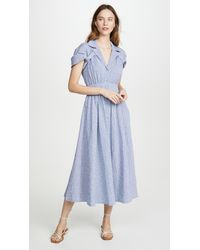 By Any Other Name Shirred Waist Tea Dress - Blue