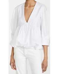 Tibi Sculpted Tucked Sleeve Top - White