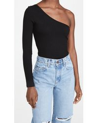 Nobody Denim Luxe Rib Long Sleeve One Shoulder Top - Black