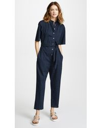 La Vie Rebecca Taylor Short Sleeve Dahlia Dot Jumpsuit - Blue