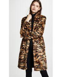 Vilshenko Faux Fur Tiger Print Coat Brown/multi