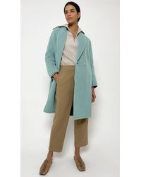 Vince Double Breasted Oversized Coat - Blue