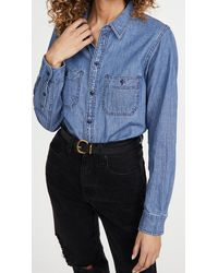 Madewell Classic Chambray Button Down Shirt - Blue