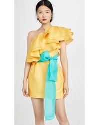 Prabal Gurung Carsix One Shoulder Ruffle Dress - Yellow