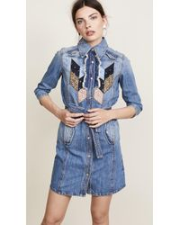 COACH - Quilted Patchwork Denim Shirtdress - Lyst