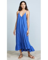 9seed Paloma Ruffle Maxi Dress - Blue