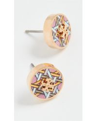 Tory Burch Kira Printed Circle Stud Earrings - Metallic