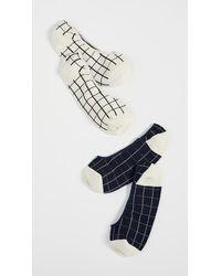 Madewell Windowpane No Show Socks - White