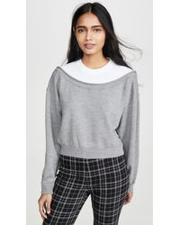 T By Alexander Wang Peelaway Bi-layer Cropped Pullover - Grey