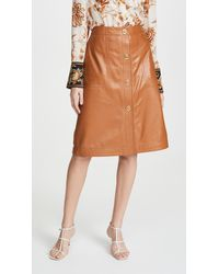 COACH Leather Skirt With Turnlocks - Brown