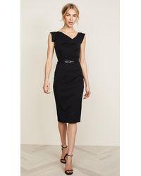 Black Halo Jackie O Belted Dress - Black