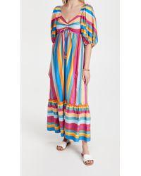 FARM Rio Striped Scarf Maxi Dress - Blue